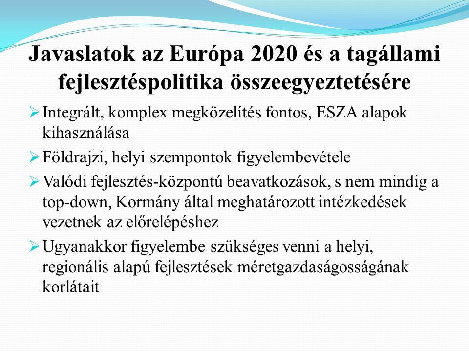 Javaslatok az Európa 2020 és a tagállami fejlesztéspolitika összeegyeztetésére  Integrált, komplex megközelítés fontos, ESZA alapok kihasználása  Földrajzi, helyi szempontok figyelembevétele  Valódi fejlesztés-központú beavatkozások, s nem mindig a top-down, Kormány által meghatározott intézkedések vezetnek az előrelépéshez  Ugyanakkor figyelembe szükséges venni a helyi, regionális alapú fejlesztések méretgazdaságosságának korlátait