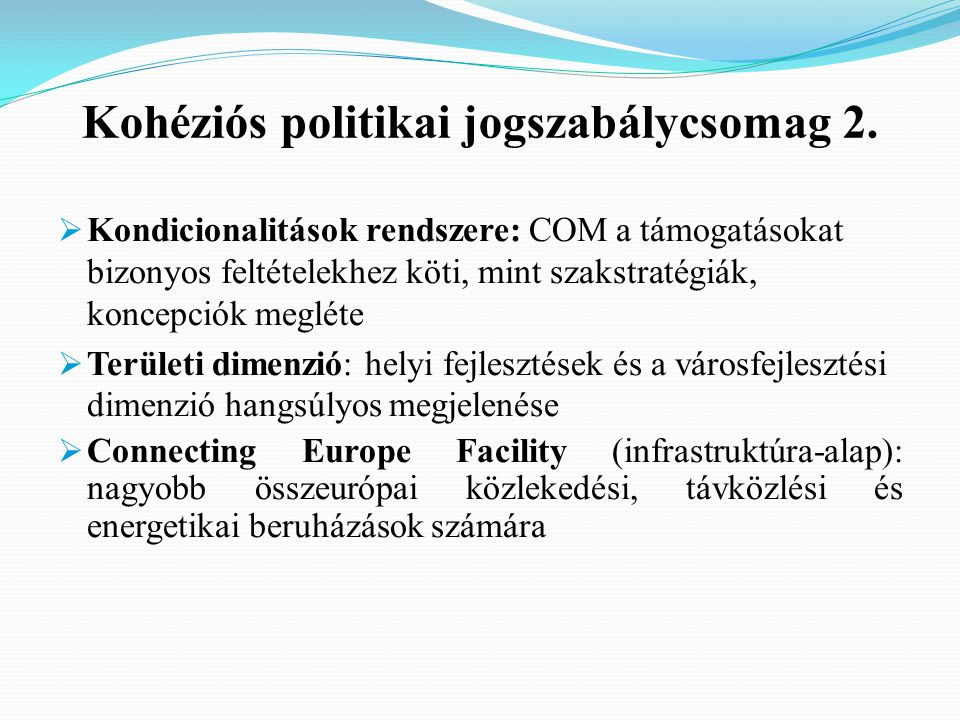 Kohéziós politikai jogszabálycsomag 2.