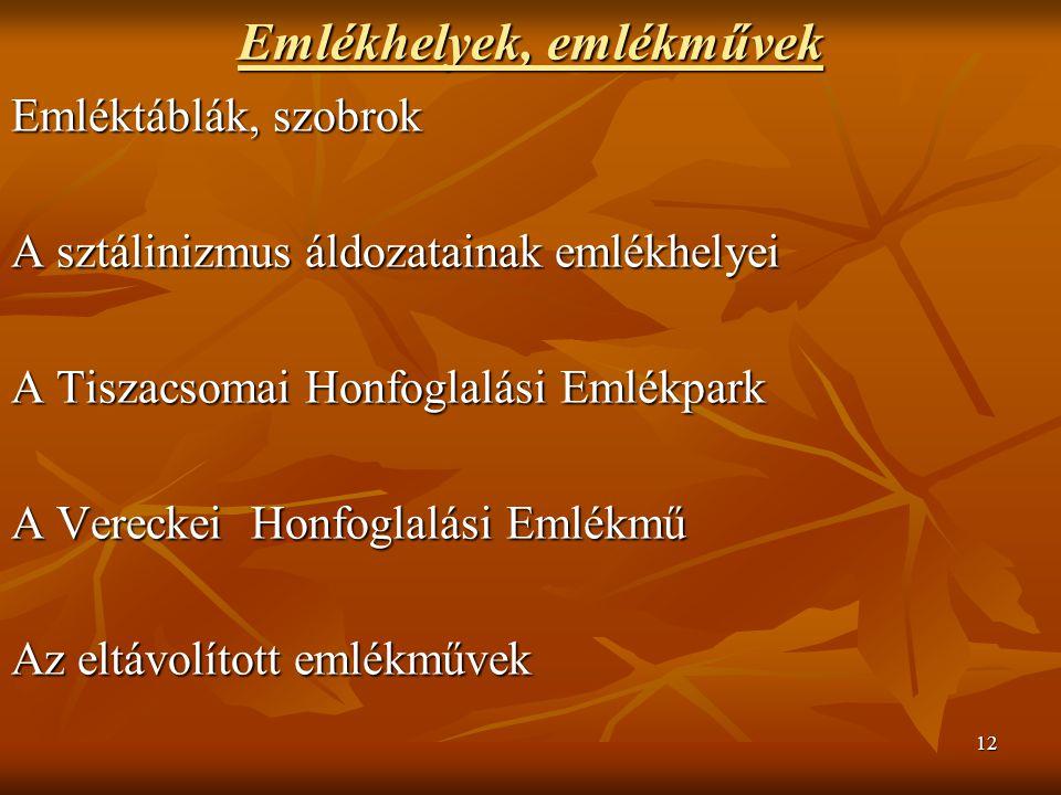 12 Emlékhelyek, emlékművek Emléktáblák, szobrok A sztálinizmus áldozatainak emlékhelyei A Tiszacsomai Honfoglalási Emlékpark A Vereckei Honfoglalási Emlékmű Az eltávolított emlékművek