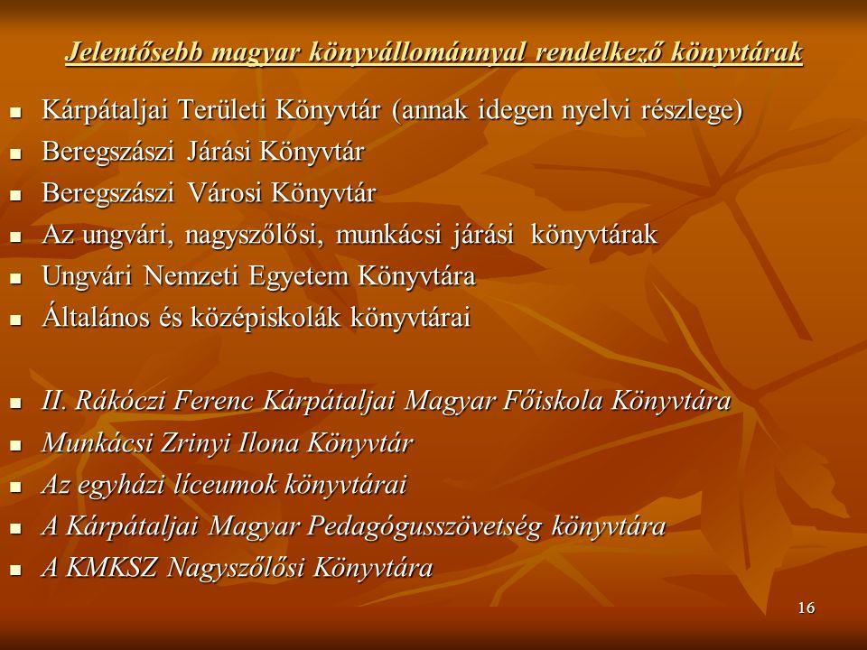 16 Jelentősebb magyar könyvállománnyal rendelkező könyvtárak Kárpátaljai Területi Könyvtár (annak idegen nyelvi részlege) Kárpátaljai Területi Könyvtár (annak idegen nyelvi részlege) Beregszászi Járási Könyvtár Beregszászi Járási Könyvtár Beregszászi Városi Könyvtár Beregszászi Városi Könyvtár Az ungvári, nagyszőlősi, munkácsi járási könyvtárak Az ungvári, nagyszőlősi, munkácsi járási könyvtárak Ungvári Nemzeti Egyetem Könyvtára Ungvári Nemzeti Egyetem Könyvtára Általános és középiskolák könyvtárai Általános és középiskolák könyvtárai II.