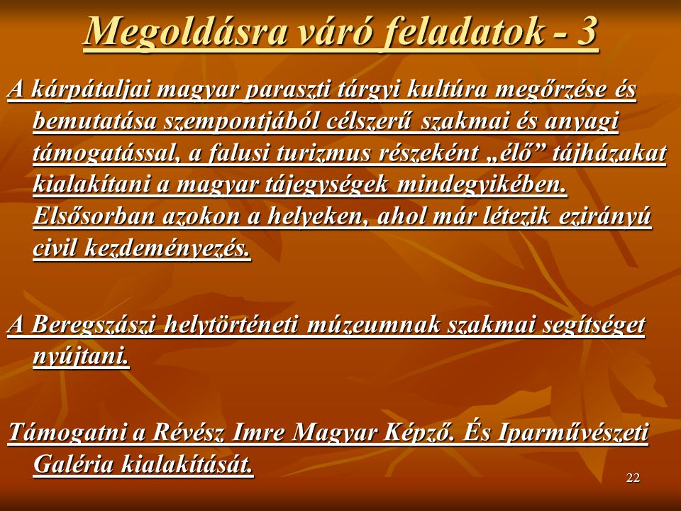 """22 Megoldásra váró feladatok - 3 A kárpátaljai magyar paraszti tárgyi kultúra megőrzése és bemutatása szempontjából célszerű szakmai és anyagi támogatással, a falusi turizmus részeként """"élő tájházakat kialakítani a magyar tájegységek mindegyikében."""