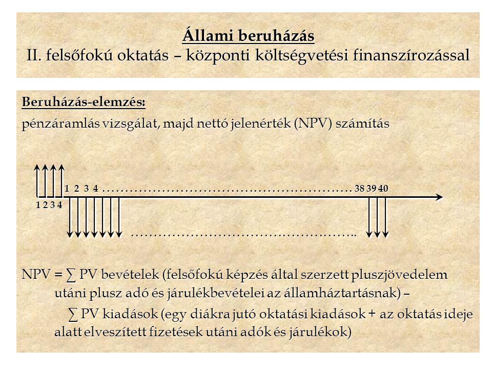 Állami beruházás II. felsőfokú oktatás – központi költségvetési finanszírozással Beruházás-elemzés: pénzáramlás vizsgálat, majd nettó jelenérték (NPV)