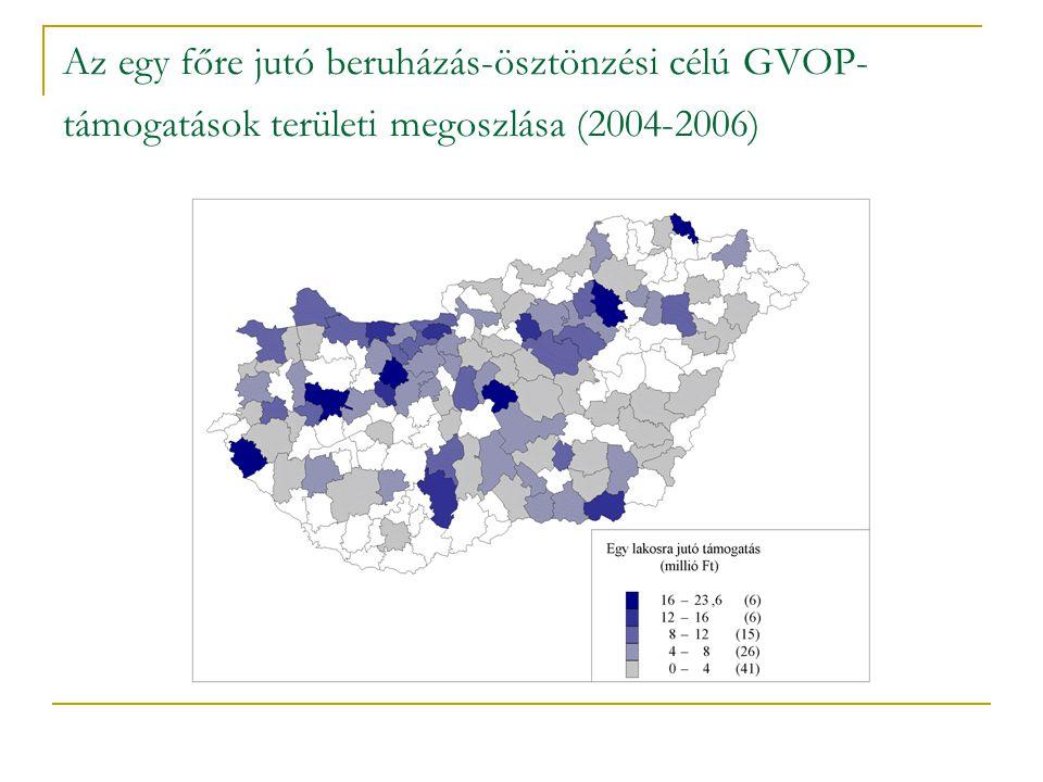 Az egy főre jutó beruházás-ösztönzési célú GVOP- támogatások területi megoszlása (2004-2006)