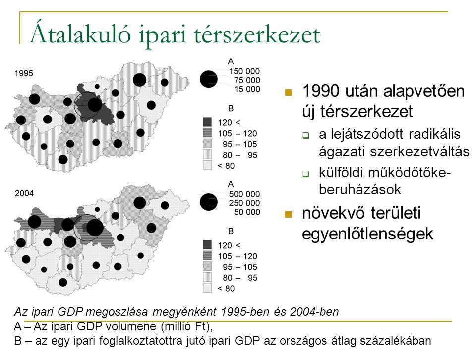 Átalakuló ipari térszerkezet 1990 után alapvetően új térszerkezet  a lejátszódott radikális ágazati szerkezetváltás  külföldi működőtőke- beruházáso