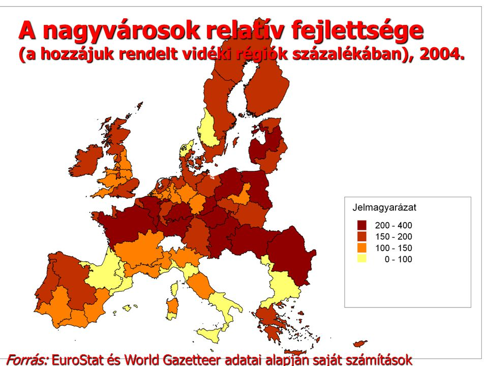 14 A nagyvárosok relatív fejlettsége (a hozzájuk rendelt vidéki régiók százalékában), 2004.