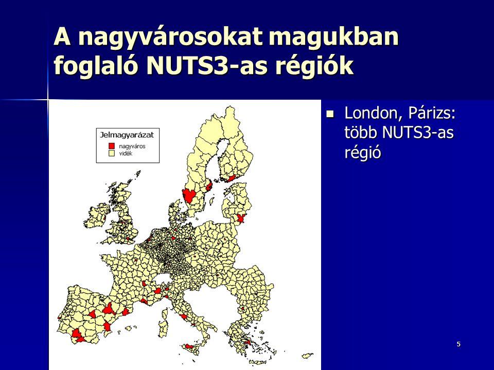 5 A nagyvárosokat magukban foglaló NUTS3-as régiók London, Párizs: több NUTS3-as régió London, Párizs: több NUTS3-as régió