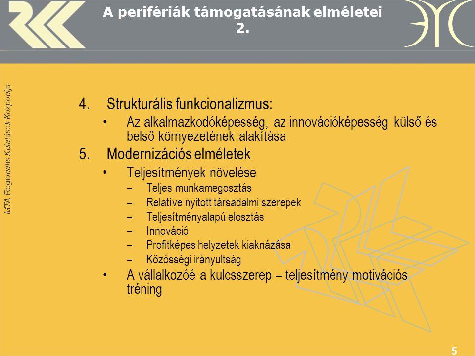 MTA Regionális Kutatások Központja 5 A perifériák támogatásának elméletei 2.