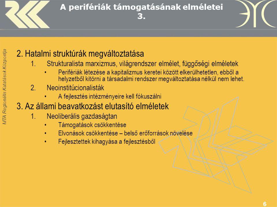 MTA Regionális Kutatások Központja 17 Összegzés - stratégia 1.Új szerepre felkészítő célok 2.Makro-környezet alakítása 3.Hosszú távon kiszámítható források 4.Helyi innovatívokra és kívülről tartós betelepülőkre építeni 5.Speciális eljárási szabályok 6.Helyi irányítás és menedzsment térségre szabott külső támogatással 7.Erős külső segítség (pénzügyi és szakmai)