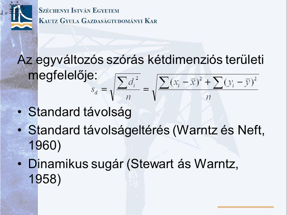 Az egyváltozós szórás kétdimenziós területi megfelelője: Standard távolság Standard távolságeltérés (Warntz és Neft, 1960) Dinamikus sugár (Stewart ás Warntz, 1958)