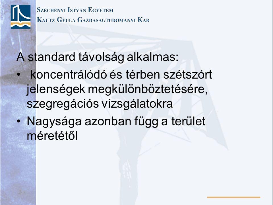 A standard távolság alkalmas: koncentrálódó és térben szétszórt jelenségek megkülönböztetésére, szegregációs vizsgálatokra Nagysága azonban függ a terület méretétől