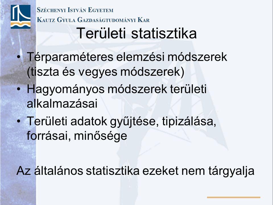 Területi statisztika Térparaméteres elemzési módszerek (tiszta és vegyes módszerek) Hagyományos módszerek területi alkalmazásai Területi adatok gyűjtése, tipizálása, forrásai, minősége Az általános statisztika ezeket nem tárgyalja