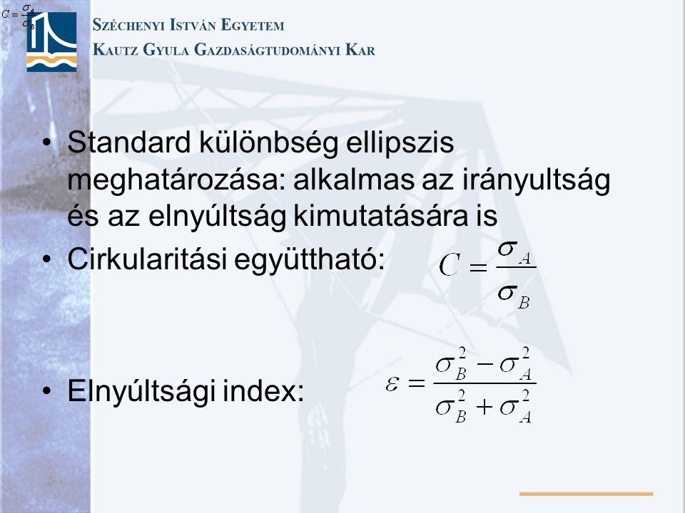 Standard különbség ellipszis meghatározása: alkalmas az irányultság és az elnyúltság kimutatására is Cirkularitási együttható: Elnyúltsági index: