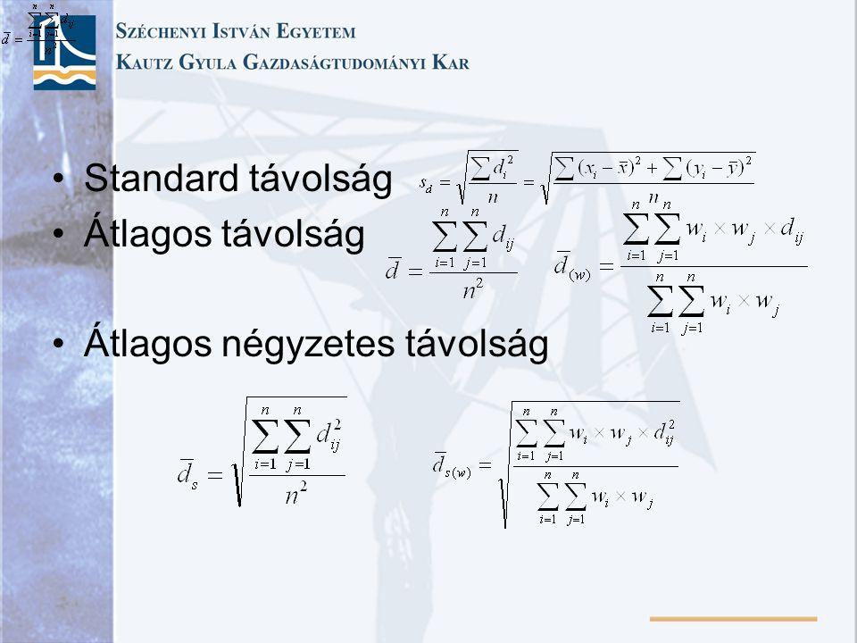 Standard távolság Átlagos távolság Átlagos négyzetes távolság