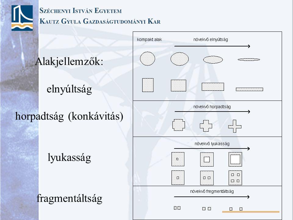 Alakjellemzők: elnyúltság horpadtság (konkávitás) lyukasság fragmentáltság