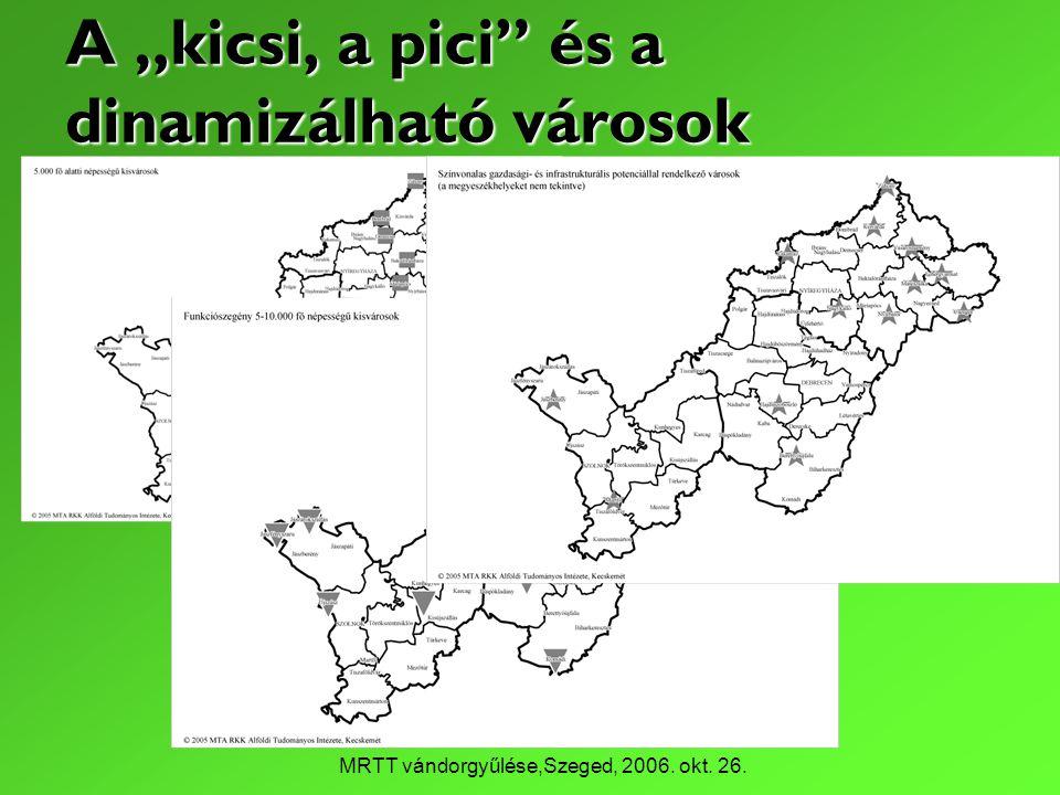 """MRTT vándorgyűlése,Szeged, 2006. okt. 26. A """"kicsi, a pici és a dinamizálható városok"""