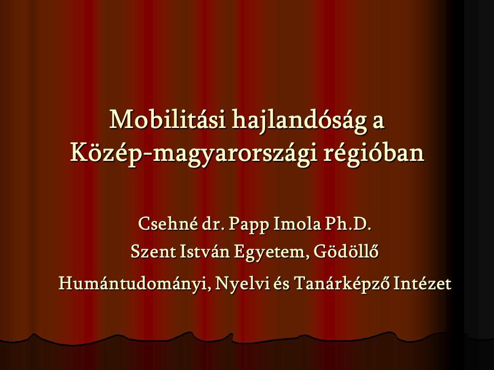 Mobilitási hajlandóság a Közép-magyarországi régióban Csehné dr.