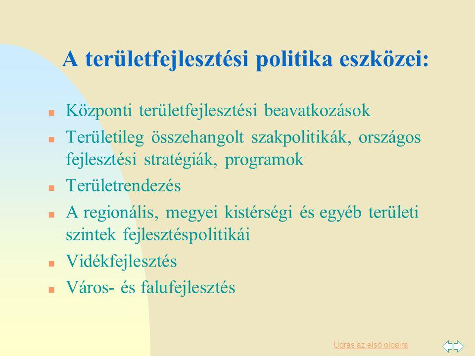 Ugrás az első oldalra Az új eszközrendszer n Országgyűlési határozat helyett törvényi szabályozás: Decentralizáció elvei (feladat, forrás, döntés) Kedvezményezett térségek besorolási elvei n Pénzügyi eszközök (EU és hazai források) n Tervszerződés rendszere n Területi tervek új rendszere n Területi Információs Rendszer (TeIR) megerősítése