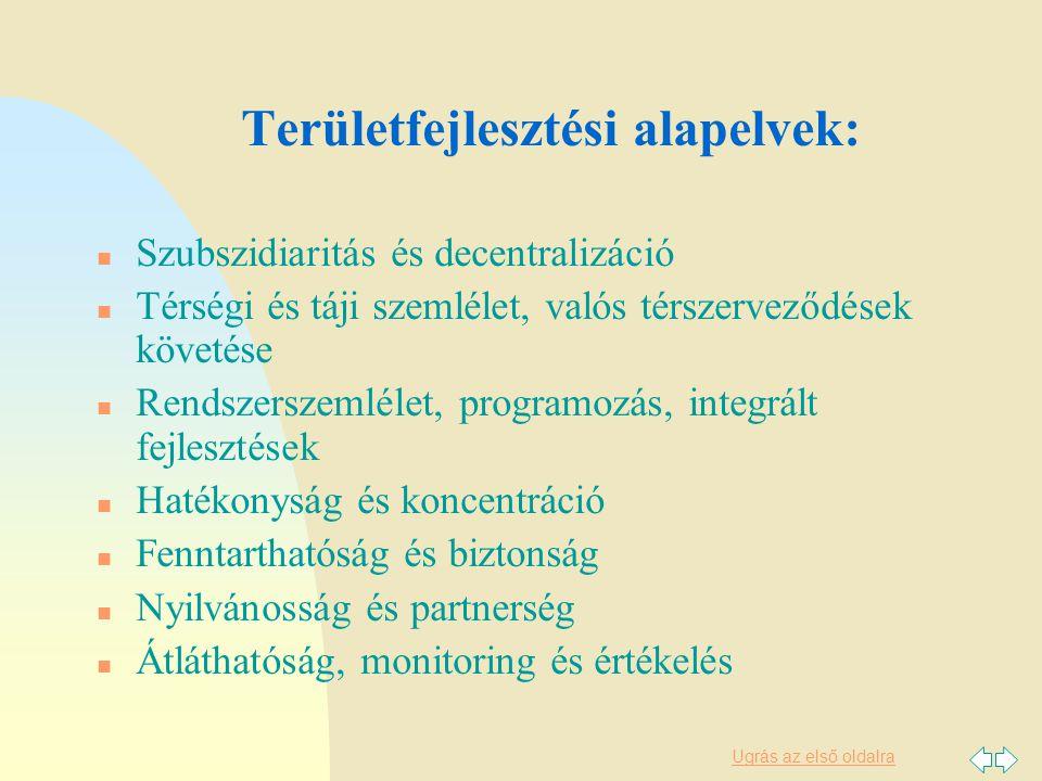Ugrás az első oldalra Területfejlesztési alapelvek: n Szubszidiaritás és decentralizáció n Térségi és táji szemlélet, valós térszerveződések követése n Rendszerszemlélet, programozás, integrált fejlesztések n Hatékonyság és koncentráció n Fenntarthatóság és biztonság n Nyilvánosság és partnerség n Átláthatóság, monitoring és értékelés
