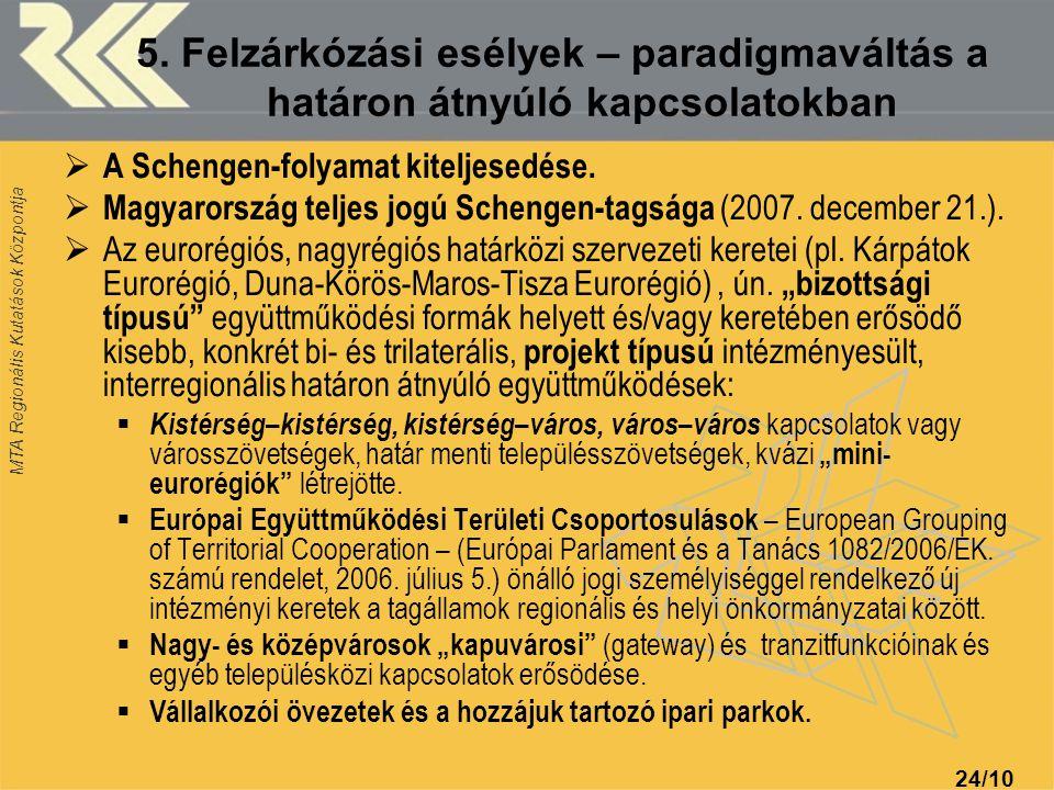 MTA Regionális Kutatások Központja 24/10 5. Felzárkózási esélyek – paradigmaváltás a határon átnyúló kapcsolatokban  A Schengen-folyamat kiteljesedés