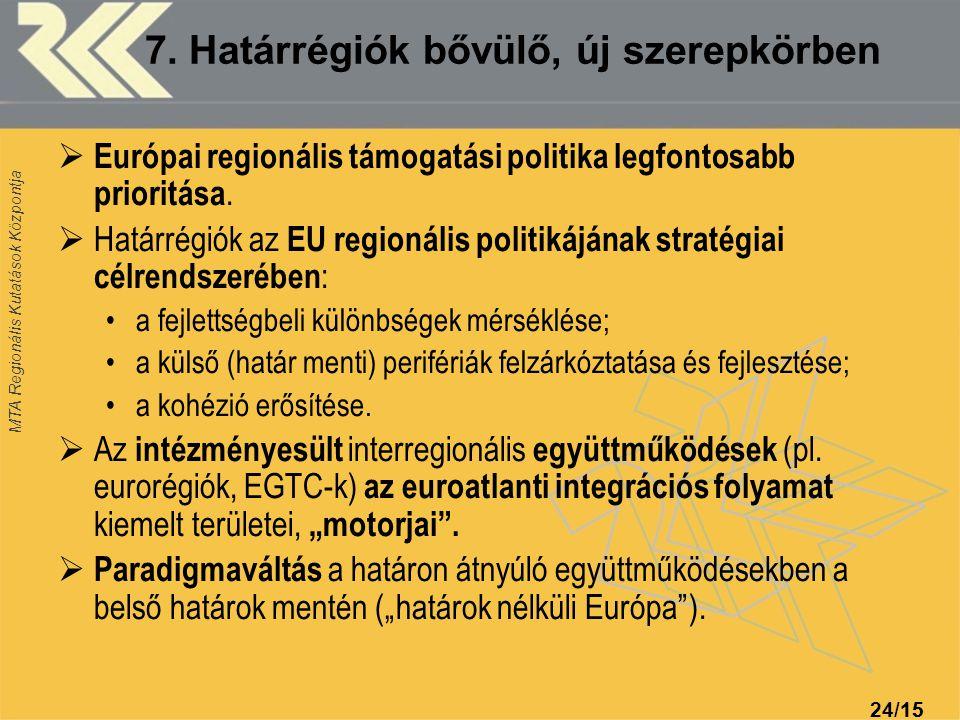MTA Regionális Kutatások Központja 24/1515 7. Határrégiók bővülő, új szerepkörben  Európai regionális támogatási politika legfontosabb prioritása. 