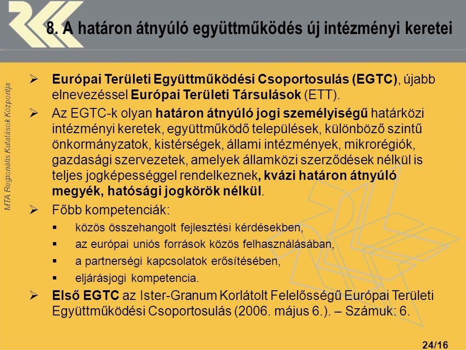 MTA Regionális Kutatások Központja 24/16 8. A határon átnyúló együttműködés új intézményi keretei  Európai Területi Együttműködési Csoportosulás (EGT