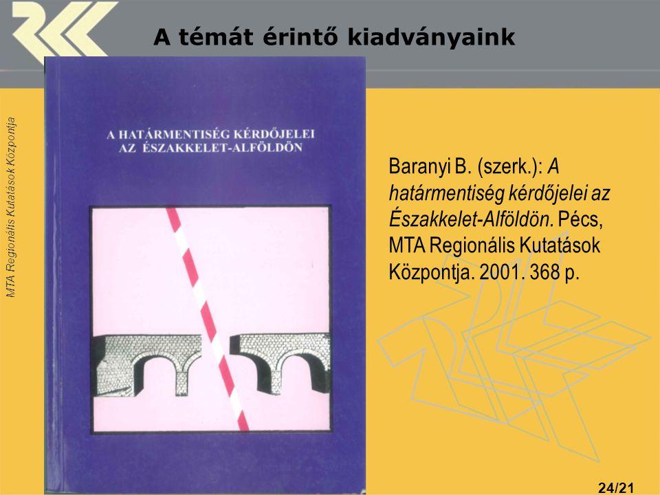 MTA Regionális Kutatások Központja 24/21 A témát érintő kiadványaink Baranyi B. (szerk.): A határmentiség kérdőjelei az Északkelet-Alföldön. Pécs, MTA