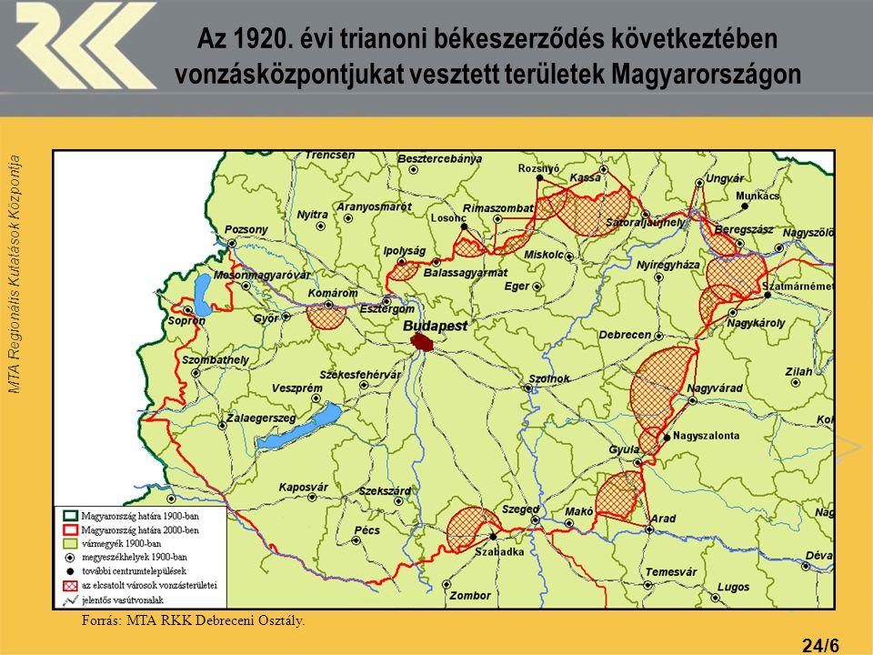 MTA Regionális Kutatások Központja 24/6 Az 1920. évi trianoni békeszerződés következtében vonzásközpontjukat vesztett területek Magyarországon Forrás: