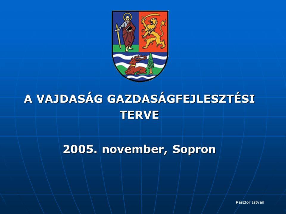 A VAJDASÁG GAZDASÁGFEJLESZTÉSI TERVE 2005. november, Sopron Pásztor István