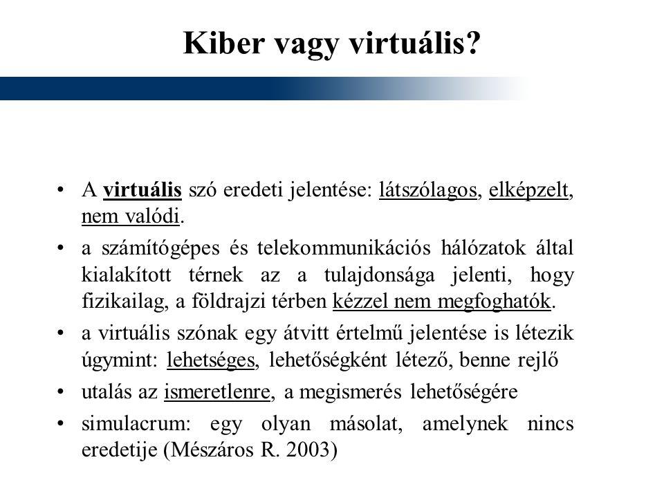 Kiber vagy virtuális? A virtuális szó eredeti jelentése: látszólagos, elképzelt, nem valódi. a számítógépes és telekommunikációs hálózatok által kiala