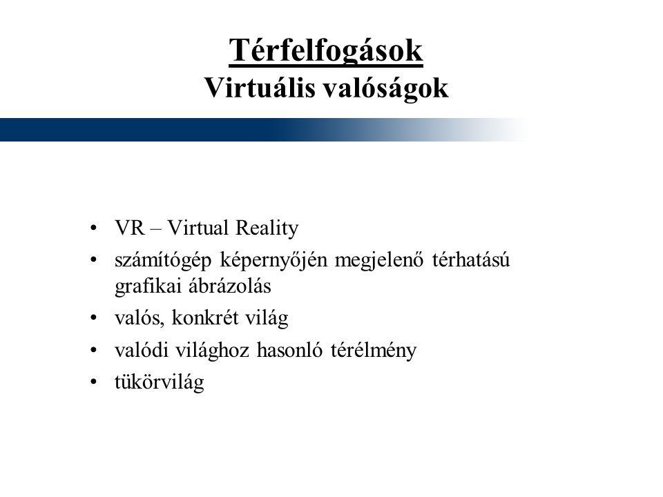 Térfelfogások Virtuális valóságok VR – Virtual Reality számítógép képernyőjén megjelenő térhatású grafikai ábrázolás valós, konkrét világ valódi világ