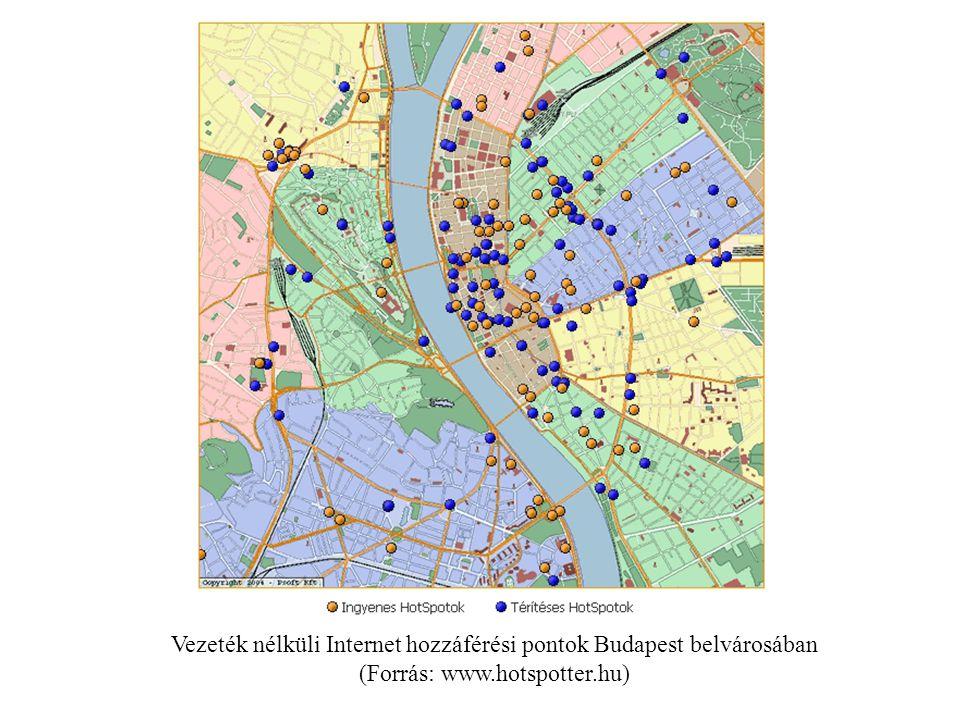 Vezeték nélküli Internet hozzáférési pontok Budapest belvárosában (Forrás: www.hotspotter.hu)