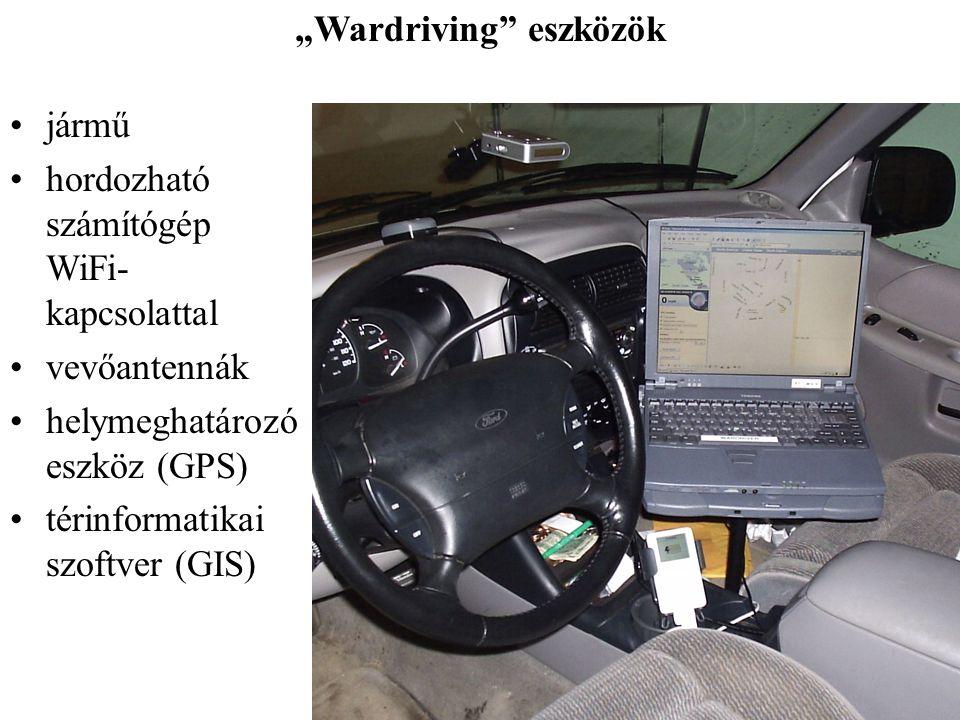 """""""Wardriving"""" eszközök jármű hordozható számítógép WiFi- kapcsolattal vevőantennák helymeghatározó eszköz (GPS) térinformatikai szoftver (GIS)"""