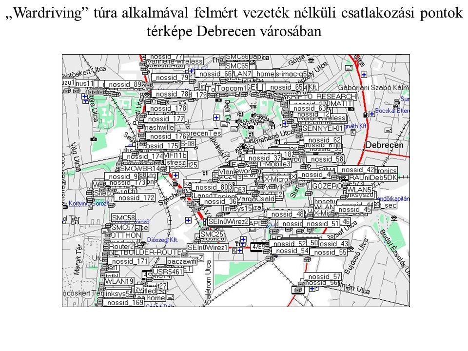 """""""Wardriving"""" túra alkalmával felmért vezeték nélküli csatlakozási pontok térképe Debrecen városában"""