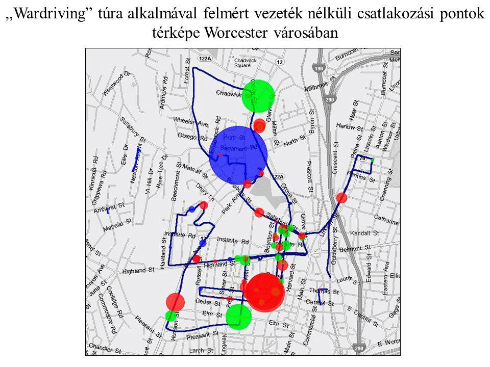 """""""Wardriving"""" túra alkalmával felmért vezeték nélküli csatlakozási pontok térképe Worcester városában"""