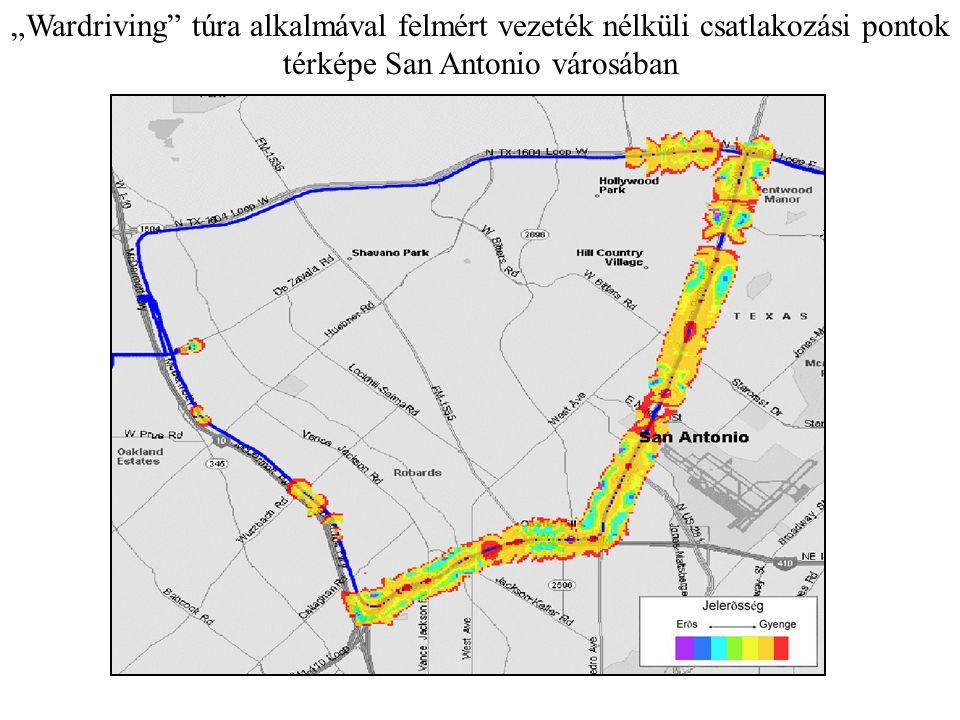 """""""Wardriving"""" túra alkalmával felmért vezeték nélküli csatlakozási pontok térképe San Antonio városában"""