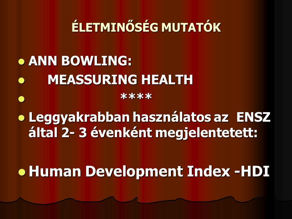 ÉLETMINŐSÉG MUTATÓK ANN BOWLING: ANN BOWLING: MEASSURING HEALTH MEASSURING HEALTH **** **** Leggyakrabban használatos az ENSZ által 2- 3 évenként megj