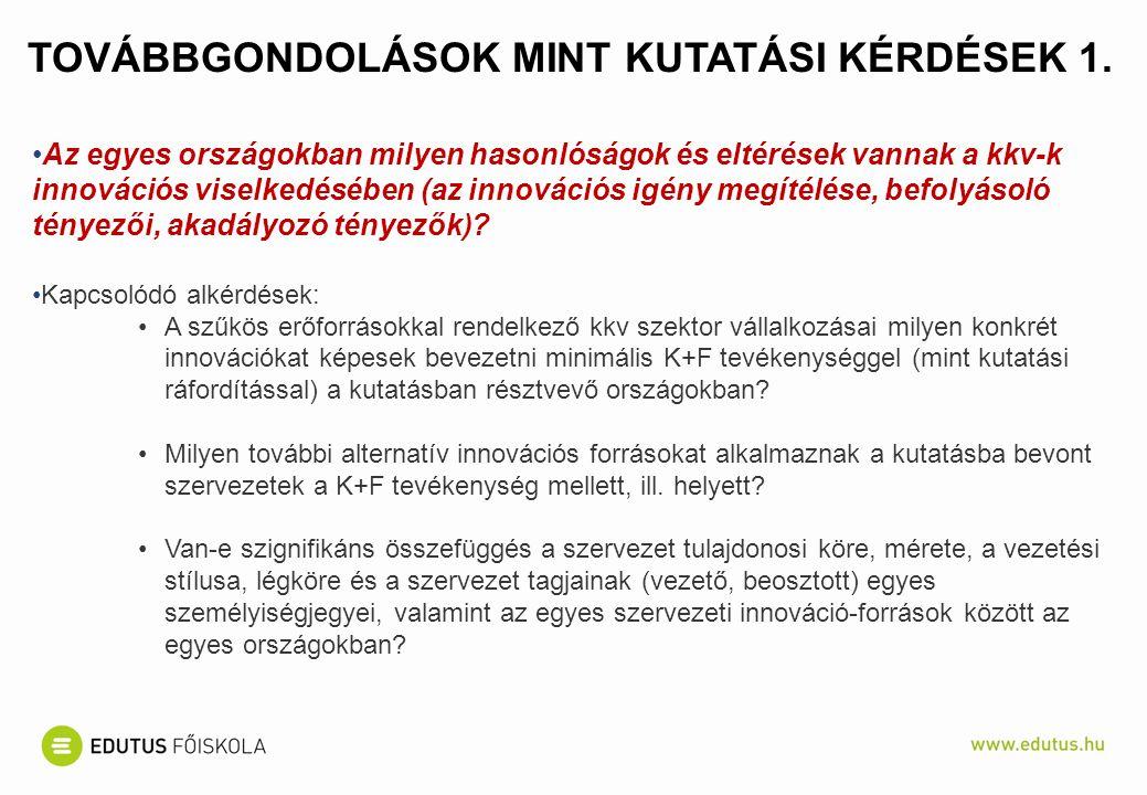 TOVÁBBGONDOLÁSOK MINT KUTATÁSI KÉRDÉSEK 1.