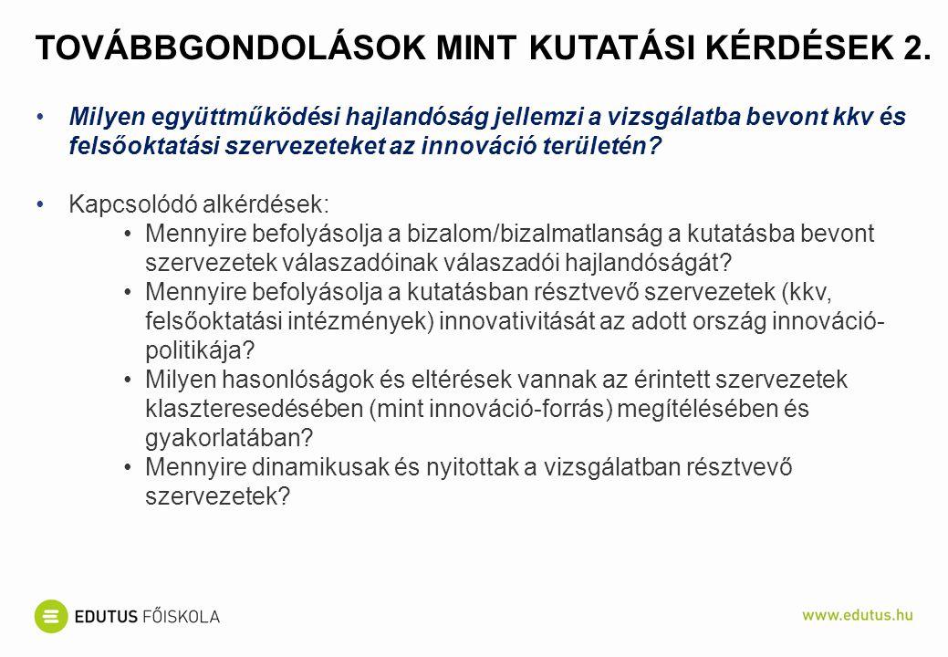 TOVÁBBGONDOLÁSOK MINT KUTATÁSI KÉRDÉSEK 2.