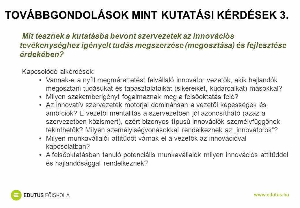 TOVÁBBGONDOLÁSOK MINT KUTATÁSI KÉRDÉSEK 3. Mit tesznek a kutatásba bevont szervezetek az innovációs tevékenységhez igényelt tudás megszerzése (megoszt