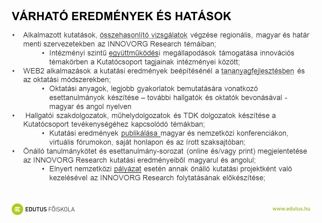 VÁRHATÓ EREDMÉNYEK ÉS HATÁSOK Alkalmazott kutatások, összehasonlító vizsgálatok végzése regionális, magyar és határ menti szervezetekben az INNOVORG Research témáiban; Intézményi szintű együttműködési megállapodások támogatása innovációs témakörben a Kutatócsoport tagjainak intézményei között; WEB2 alkalmazások a kutatási eredmények beépítésénél a tananyagfejlesztésben és az oktatási módszerekben; Oktatási anyagok, legjobb gyakorlatok bemutatására vonatkozó esettanulmányok készítése – további hallgatók és oktatók bevonásával - magyar és angol nyelven Hallgatói szakdolgozatok, műhelydolgozatok és TDK dolgozatok készítése a Kutatócsoport tevékenységéhez kapcsolódó témákban; Kutatási eredmények publikálása magyar és nemzetközi konferenciákon, virtuális fórumokon, saját honlapon és az írott szaksajtóban; Önálló tanulmánykötet és esettanulmány-sorozat (online és/vagy print) megjelentetése az INNOVORG Research kutatási eredményeiből magyarul és angolul; Elnyert nemzetközi pályázat esetén annak önálló kutatási projektként való kezelésével az INNOVORG Research folytatásának előkészítése;