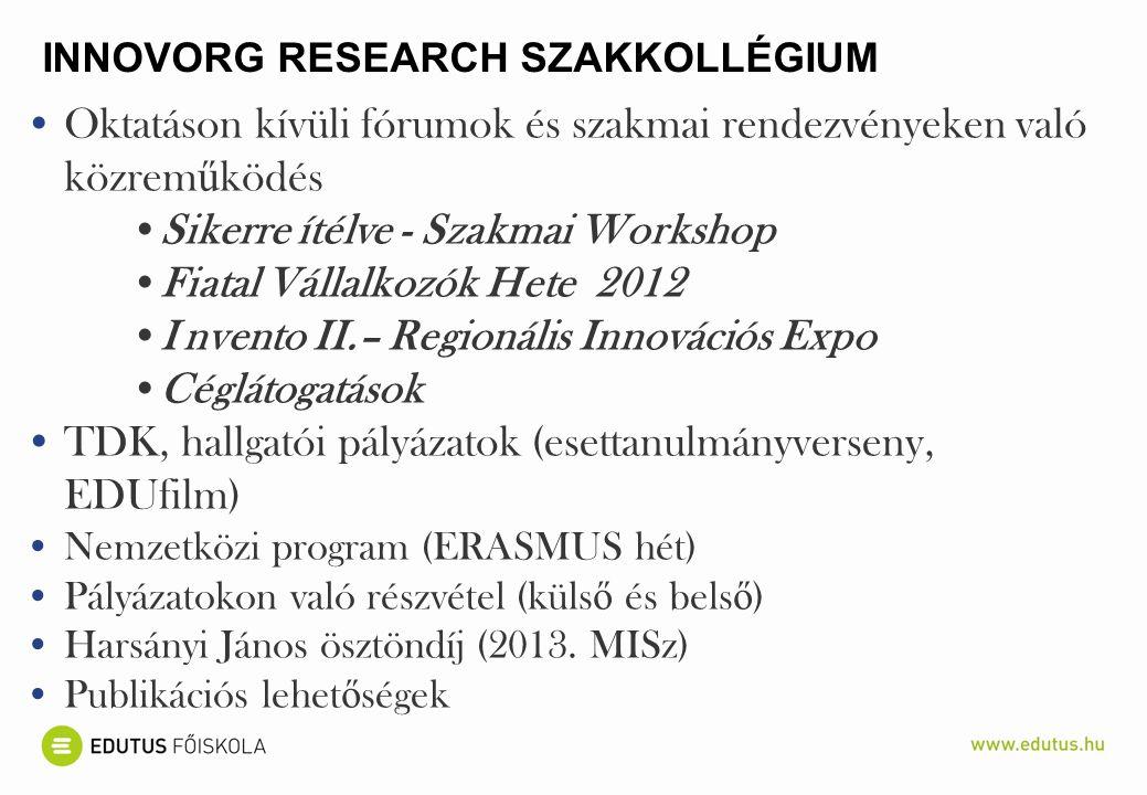 ALKALMAZOTT KUTATÁSI MÓDSZEREK 1.Az adott ország (hazai)és külföldi szakirodalmának feldolgozása 2.Korábbi időszakban készült másodlagos és harmadlagos források elemzése összehasonlítás céljából 3.Médiaelemzés (Innotéka, HVG, Budapest Business Journal, Világgazdaság, Harvard Business Review) adott időszakban 4.Honlapelemzés (pl.