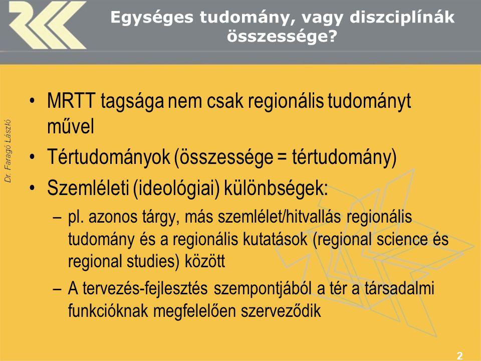 Dr. Faragó László Egységes tudomány, vagy diszciplínák összessége? MRTT tagsága nem csak regionális tudományt művel Tértudományok (összessége = tértud