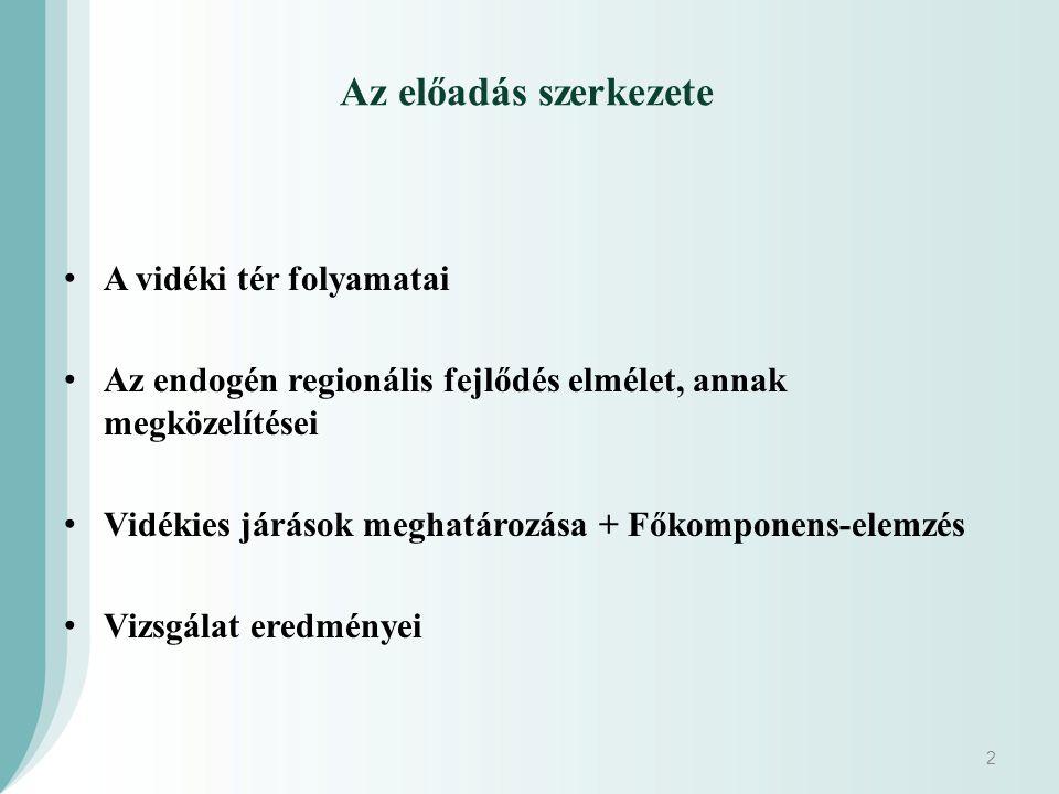 Az előadás szerkezete A vidéki tér folyamatai Az endogén regionális fejlődés elmélet, annak megközelítései Vidékies járások meghatározása + Főkomponens-elemzés Vizsgálat eredményei 2