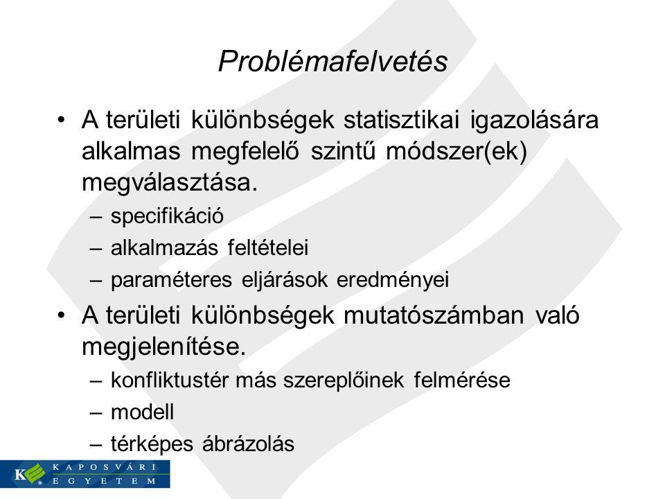 Problémafelvetés A területi különbségek statisztikai igazolására alkalmas megfelelő szintű módszer(ek) megválasztása. –specifikáció –alkalmazás feltét