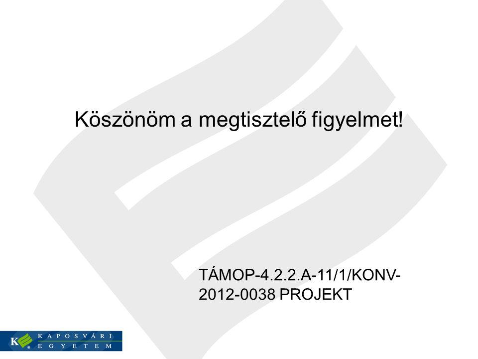 Köszönöm a megtisztelő figyelmet! TÁMOP-4.2.2.A-11/1/KONV- 2012-0038 PROJEKT