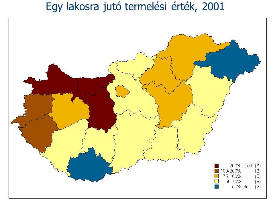 Egy lakosra jutó termelési érték, 2001