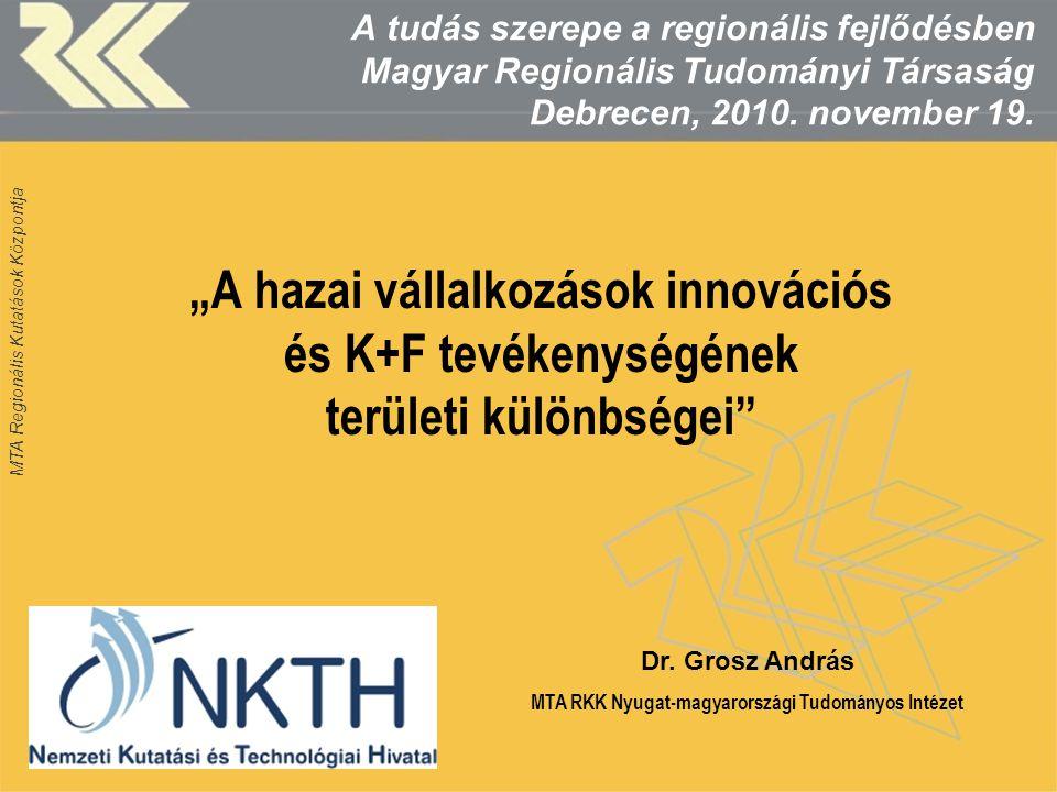 MTA Regionális Kutatások Központja Az innovációs aktivitás területi beágyazottság szerint, % Forrás: NETINNOV Kérdőívek 2010, N=1732