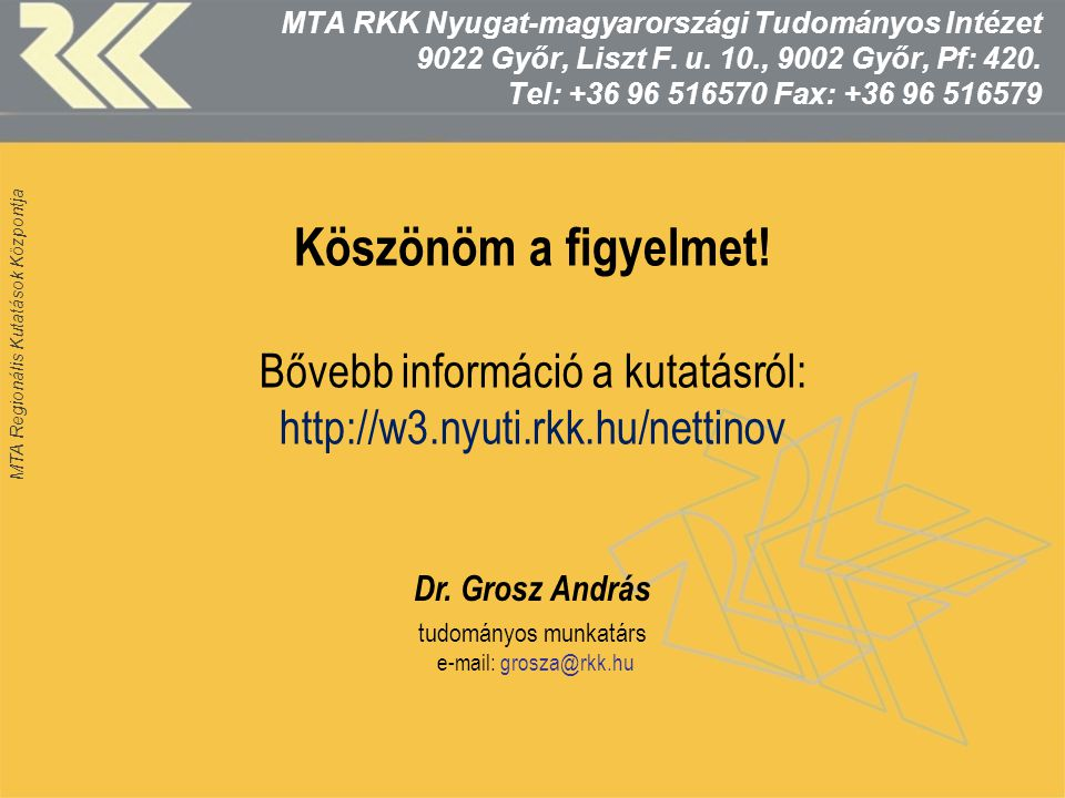 MTA Regionális Kutatások Központja Köszönöm a figyelmet! Bővebb információ a kutatásról: http://w3.nyuti.rkk.hu/nettinov Dr. Grosz András tudományos m