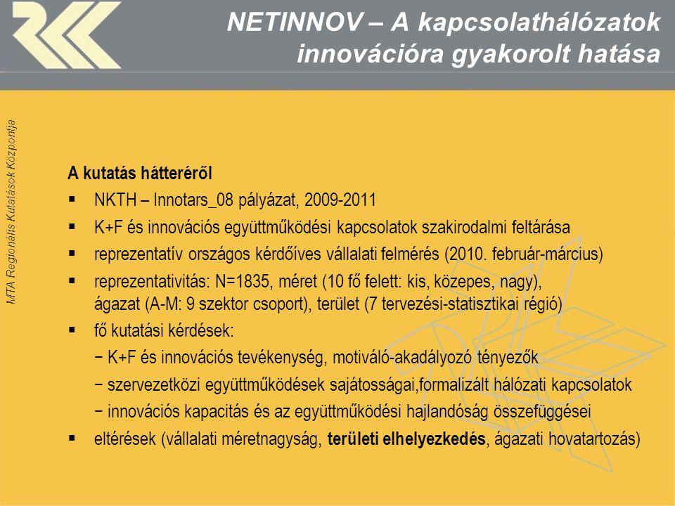 MTA Regionális Kutatások Központja NETINNOV – A kapcsolathálózatok innovációra gyakorolt hatása A kutatás hátteréről  NKTH – Innotars_08 pályázat, 20