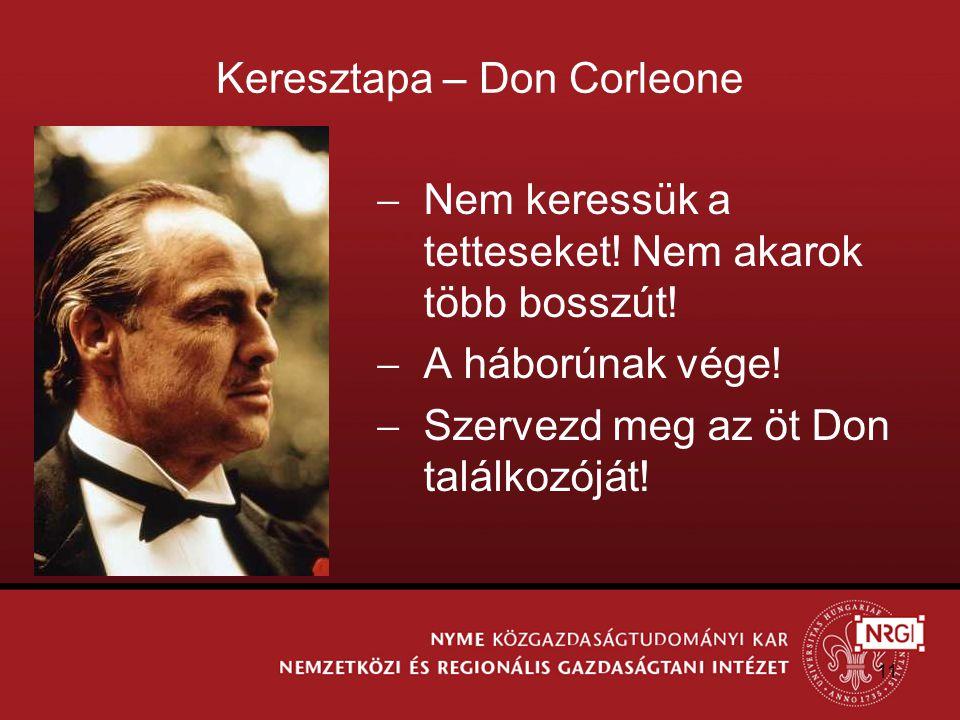 Keresztapa – Don Corleone  Nem keressük a tetteseket.